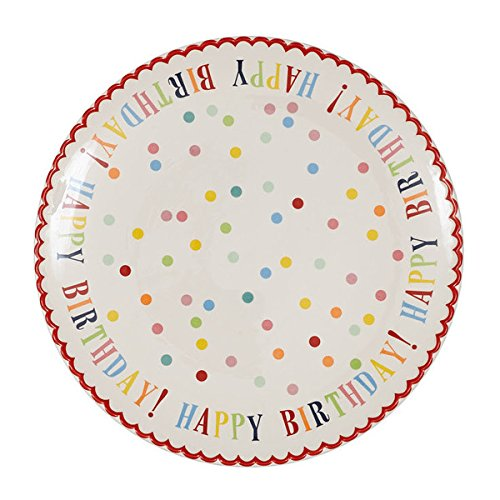 Happy Birthday Stoneware Cake Plate (Pinterest Christmas Gift Baskets)