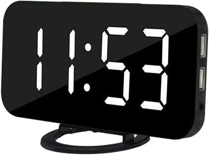 Lorsoul Pantalla LED Reloj Digital Tabla Regulable automática Despertador con Puerto USB Modo de repetición Dual, Negro, Pantalla Blanca