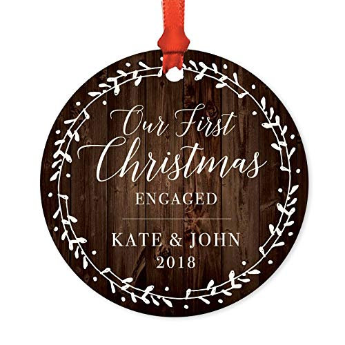 ized Wedding Engagement Metal Christmas Ornament, Our First Christmas Engaged, Kate & John 2019, Rustic Wood Florals, 1-Pack, Includes Ribbon and Gift Bag, Custom Name ()