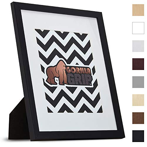 Gorilla Grip Original Picture Frame (11x14 with Removable Mat) Faux Wood Photo Frames, Pre-Installed Wall Mounting Hardware or Tabletop Display, Pictures Hang Horizontal/Vertical, For Diplomas ()