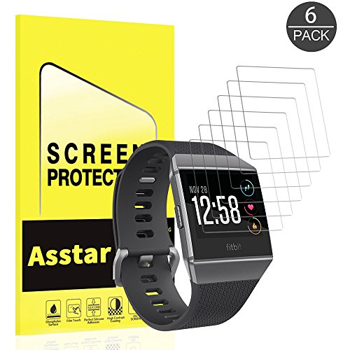[6 Pack] Fitbit Ionic Screen Protector, Astar Full Coverage HD Clear Easy Install Anti-Bubble Film Anti-Glare Screen Protector for Fitbit - Body Glove Protector Screen