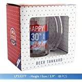 Happy 30th Birthday Glass Beer Tankard - Vintage Style Artwork by Celebration Glasses