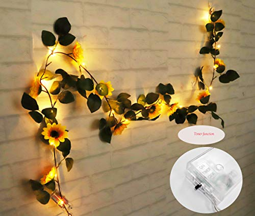 FLCSIed 2 AA Batteries Powered 20 LED Silver String Fairy Lights with Sunflowers, Warm White with Timer Function