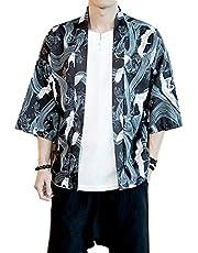 Mens Kimono Japanese Cardigan Jacket Yukata Coat Top