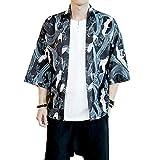 Mens Kimono Japanese Cardigan Jacket Yukata Coat Top (Asian size XL, black)