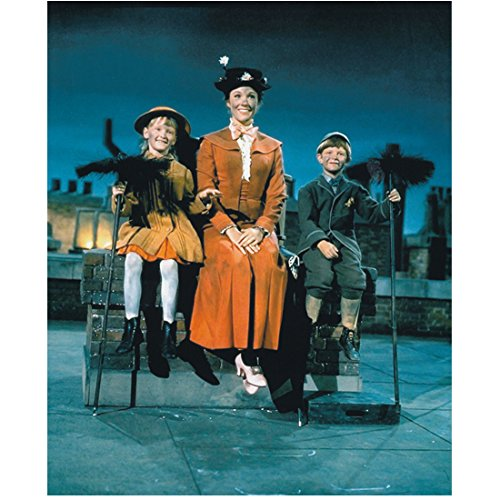 Mary Poppins (1964) 8 inch x10 inch photograph Julie Andrews in Orange Dress Sitting on Chimney w/Children kn