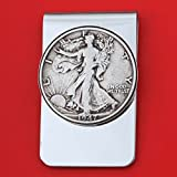 US 1947 Walking Liberty Half Dollar 90% Silver Coin Stainless Steel Money Clip NEW - Silver Plated Coin Bezel