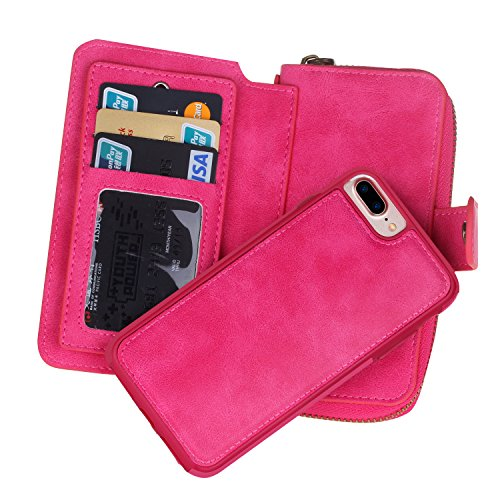 Urvoix iPhone 7Plus Case, Premium Leather Zipper Wallet Multi Functional Handbag Detachable Removable Cover Case with Flip Card Holder Cover for iPhone 7Plus (5.5) Pink