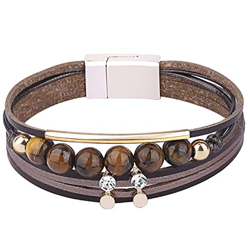 wrap Bracelets Boho Multilayer Cuff Bracelet Handmade Wristband Braided Rope Cuff Bangle with Alloy Magnetic Clasp Jewelry for Women Teen Girl Gift (6 Natural Stone-Brown)