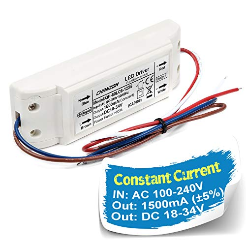 - Chanzon LED Driver 1500mA (Constant Current Output) 18V-34V (Input 100-240V AC-DC) (6-10) x5 30W 35W 40W 45W 50W Power Supply 1500 mA Lighting Transformer for High Power 50 W COB Chips (Plastic Case)