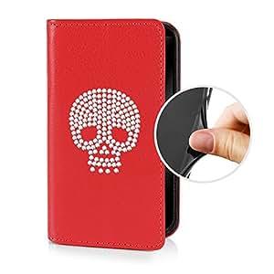eSPee SZ1cS054 tipo con calavera, silicona y cierre magnético para Sony Xperia Z1 compact rojo
