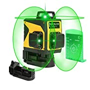 #LightningDeal 3D Green Line Laser, Rechargeable Self Leveling Laser Level for Construction, USB Charging Auto Leveling 3 Plane Level Kit with 12 Lines, 360 Degree Alignment Laser Leveler Tool, Laser Level: CLASS II
