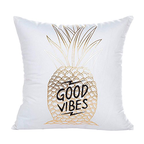 Hot Sale,Napoo Cute Gold Foil Printing Pillow Case Sofa Waist Throw Cushion Cover Home Decor (H)