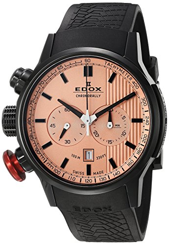 Edox Men's 10302 37N ROIN Chronorally Analog Display Swiss Quartz Black Watch