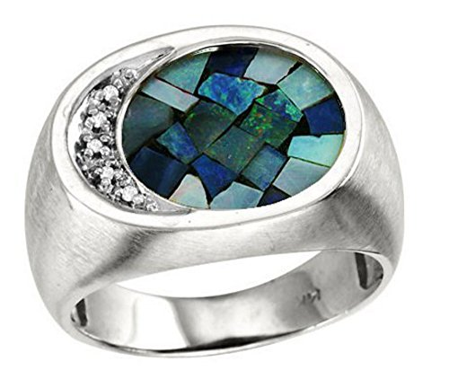 Mens Diamond & Mosaic Opal Ring in 14K Yellow or 14K White Gold
