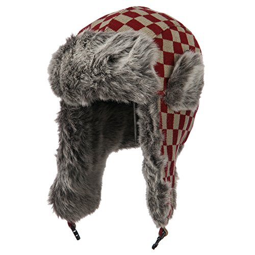 Jacquard Checkered Trooper Hat - Burgundy OSFM