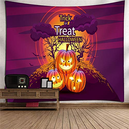 (Halloween Pumpkin Hanging Cloth Home Tapestry 3D Digital Printing Polyester TV Background Wall Bedroom Living Room Tapestry Wall Hanging Picnic Blanket Wall Mount Art Wall Decoration (Color :)