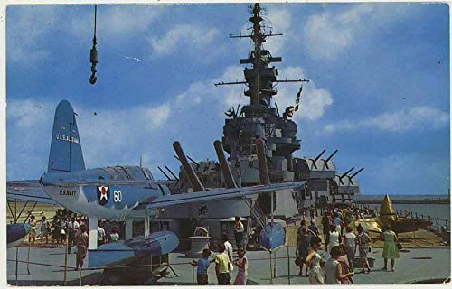 Deck USS Alabama Battleship - Mobile Bay - Vintage 1961 Chrome Postcard