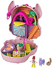 Polly Pocket Llama Music Party Compact with Stage, Spinning Dance Floor, Food Stalls and Table, Picnic Basket,