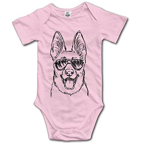 (Zengjisheng German Shepherd Dog Wear Glasses Unisex Newborn Baby Rompers Short Sleeve Jumpsuit Toddler)