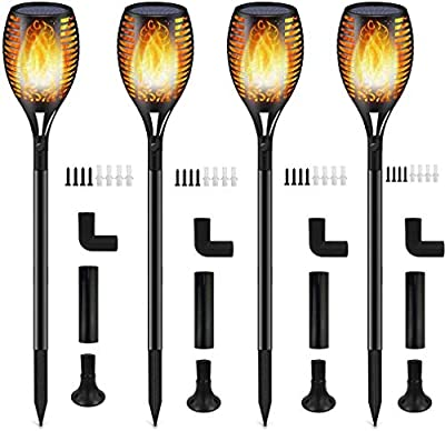 Solar Lights,Waterproof Flames Torches Lights Outdoor Solar Light Landscape Decoration Lighting Dusk to Dawn Auto On/Off Security Torch Light for Pathway, Patio, Yard, Garden (Yellow, 4 Packs)