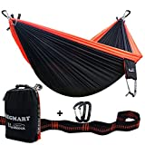 SEGMART Double XL Hammocks with Hammock Straps & Carabiners – Black/Orange