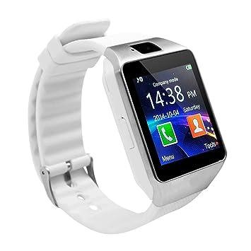 Bluetooth Smart Watch Smart Watch DZ09 Android Llamada De Teléfono Relogio 2G gsm SIM Tarjeta De Cámara para iPhone Samsung Huawei PK GT08 A1,White: ...