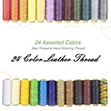 24 Colors Waxed Thread,Colorful Leather Thread, Leather Sewing Thread,Hand Stitching Thread for Hand Sewing Leather and Bookbinding