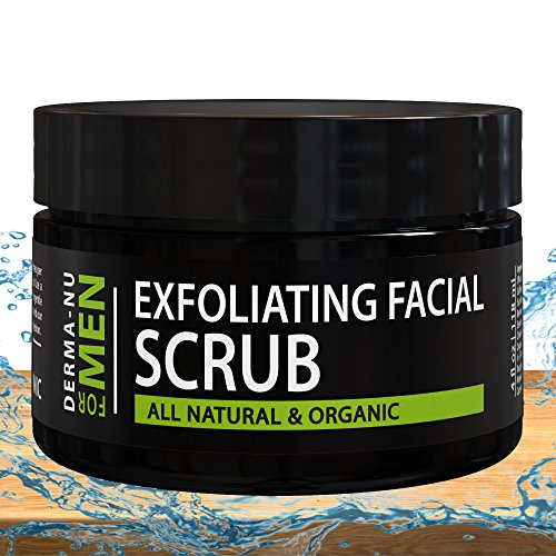 Exfoliating Facial Scrub for Men By Derma-nu - Unclogs Pores, Fights Acne and Prevents Ingrown Hairs - Natural