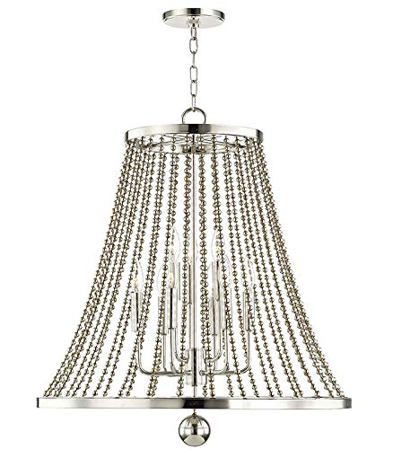 - Hudson Valley Lighting 5726-PN Spool Chandelier, 9-Light, Polished Nickel