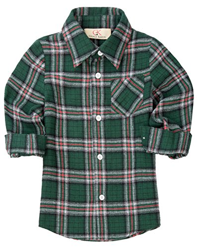 GRACE KARIN Boys Long Sleeve Plaid Cotton Sport Shirt with Pockets 5-7yrs CL645-2 (Shirt Pocket Plaid Sport)