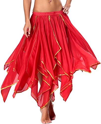 [Seawhisper Chiffon Fairy Fancy Skirt Belly Dance Skirt for Women with Sequin Side Split] (Belly Dancing Dress)