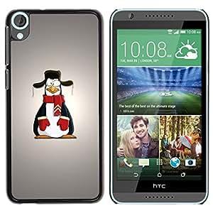 PC/Aluminum Funda Carcasa protectora para HTC Desire 820 Penguin Cartoon Art Drawing Snow Scarf Outfit / JUSTGO PHONE PROTECTOR