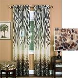 "50"" X 84"" Kenya Brown Zebra Sheer Curtain Panel By Achim"