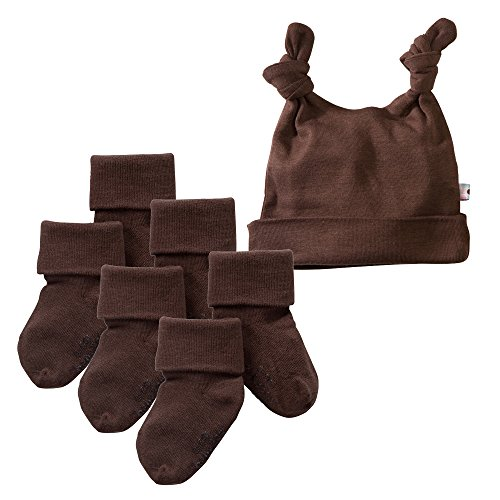 Babysoy Basic Knot Hat and Socks Set (12-24 Months, Chocolate)]()