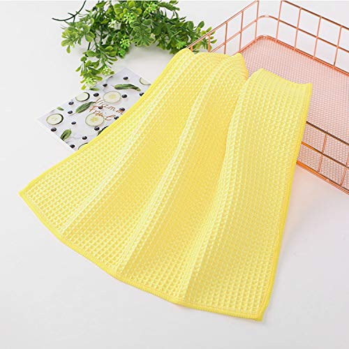 30x30cm Microfiber Waffle Weave Cloth Kitchen Towel Rag For Home Super Absorbent Dishcloth Car Glass Foor Cleaning Cloth ()