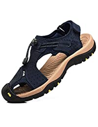 c8e2e8a72fb8 rismart Men s Closed Toe Walking Fastening Trekking Sport Shoes Suede  Leather Sandals
