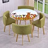 Farm Coffee Table Plans iPrint Round Table/Wall/Floor Decal Strikers,Removable,Cute Farm Creatures with Cow Horse Goat Pig and Chicken by The Fences Kids Cartoon,for Living Room,Kitchens,Office Decoration