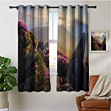 PRUNUSHOME Sunrise Rhodonderons Kitchen Grommet Curtains, Home Fashion Drapes for Small Windows Kitchen Cafe Curtains Half Window Treatments (Set of 2 Panels,42 by 72 Inch)
