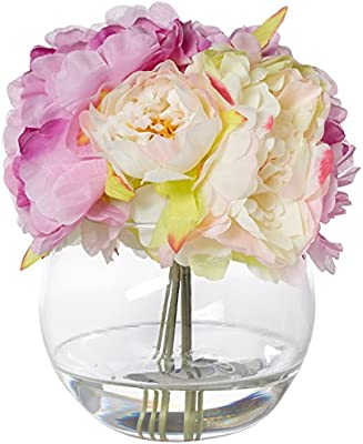248 & Pure Garden Peony Floral Arrangement with Glass Vase - Pink