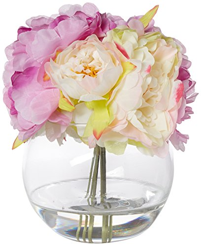 Pure Garden Peony Floral Arrangement with Glass Vase - Pink (Floral Arrangement Peony)
