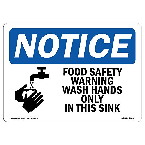 OSHA Notice Signs - Food Safety Warning Wash Hands Sign with Symbol | Extremely Durable Made in The USA | Heavy Duty Vinyl Label | Protect Your Warehouse & -
