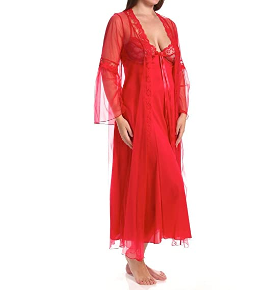 Gorgeous Red Plus Size Ladies Satin Lace Trim Dressing Gown   Full Length  Nightie Set - 4267298a3