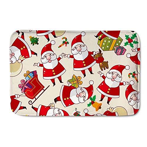 Youngerbaby Christmas Indoor Doormat for Entrance Way,23x16 INCH Non Slip Soft Home Bath Rug for Inside Bathroom Bedroom Floor, Rubber Back,Absorbent XMAS Santa Claus Door Mat,Machine Washable
