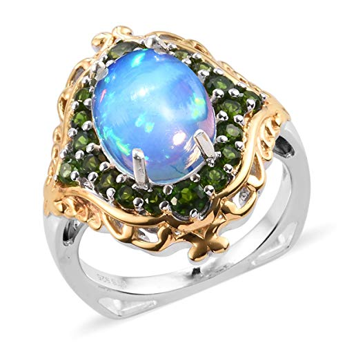 Opal Chrome Diopside Ring 925 Sterling Silver Platinum Plated Jewelry for Women Size 8
