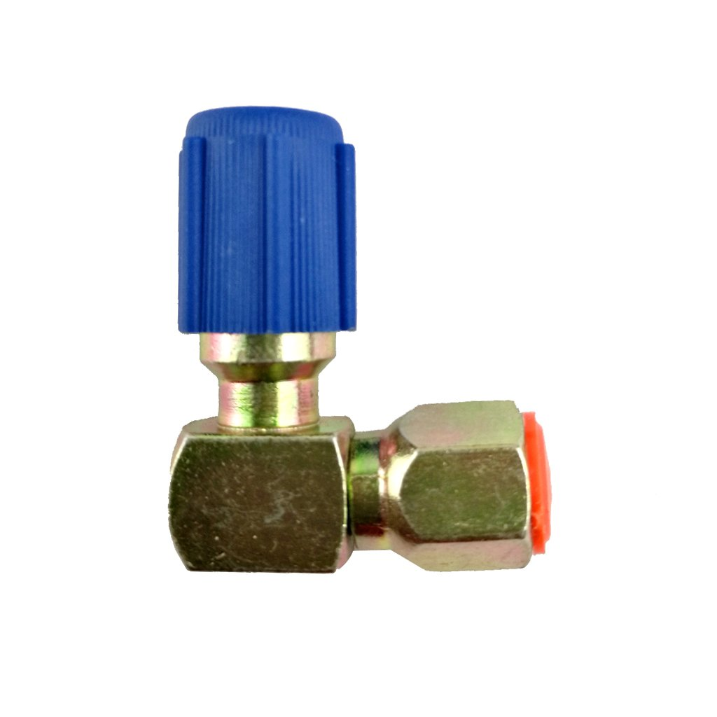 Generic A//C 7//16 Low Side R12 to R134a Adapter 90 degrees Quick Connector Blue Cap