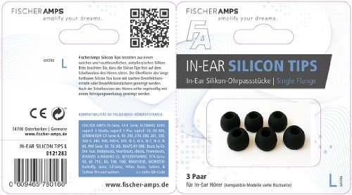 Fischer Amps Accessoires and Spare Parts Silcone Eartips FA Earphones, L, (960-00309)