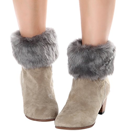 Womens Fur Trim Boot Cuff Top Cover Leg Warmers Dark -