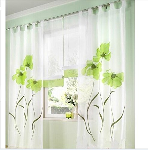 Green Handmade Inkjet Colorful Flowers Sheers Window Curtains 2pcs/lot