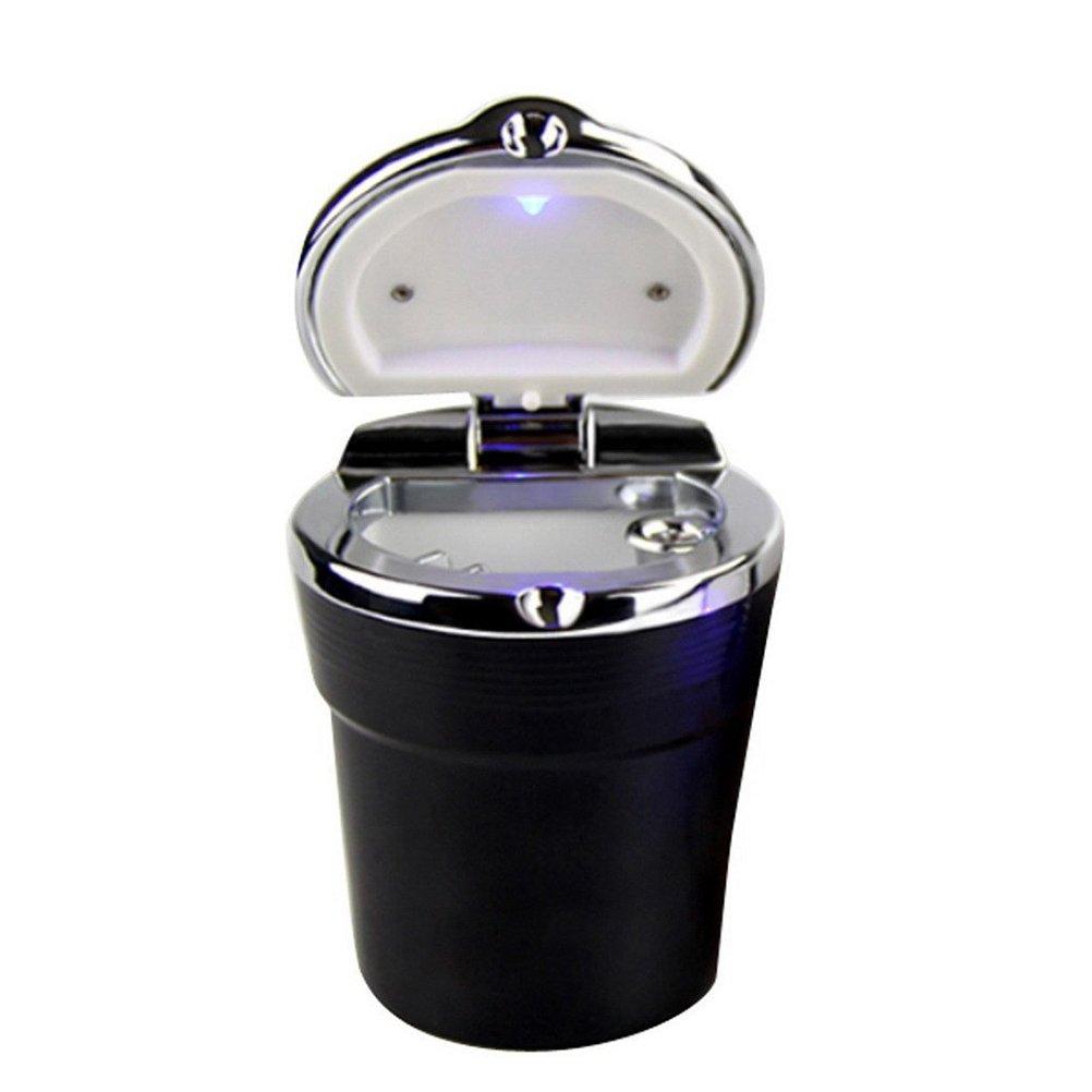 Noir Tinksky automatique Support voiture sans fum/ée Cendrier Support cylindrique avec lumi/ère LED bleue